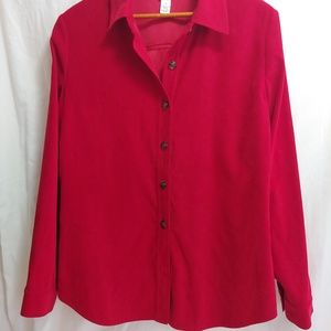 Talbots Button Front Shirt Jacket Red Cuffeed Long